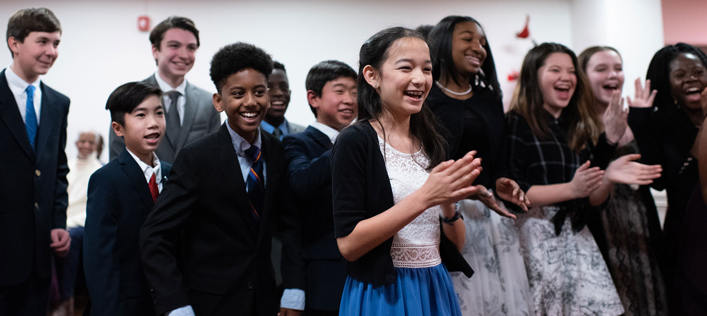 Christ Episcopal School students having fun at ballroom dance